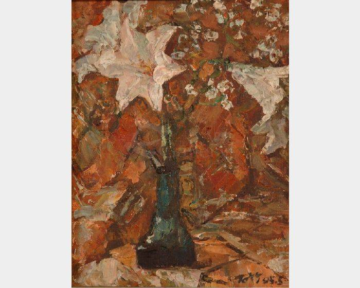 葉錫祚-百合花與紅襯