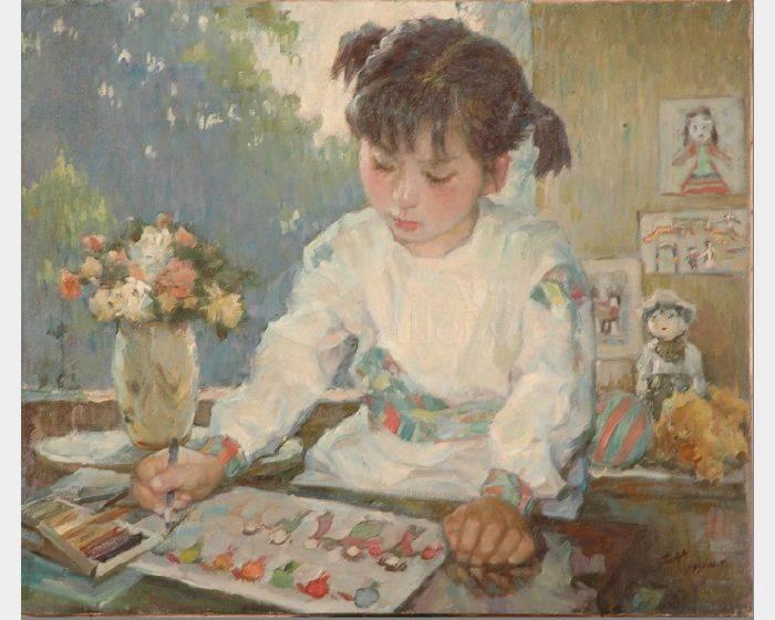 葉錫祚-畫畫的小姑娘