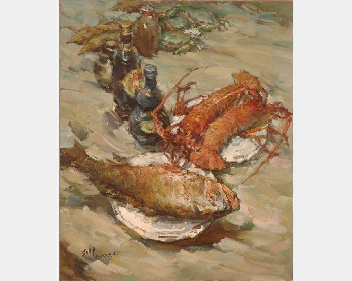 葉錫祚-黄魚與龍蝦