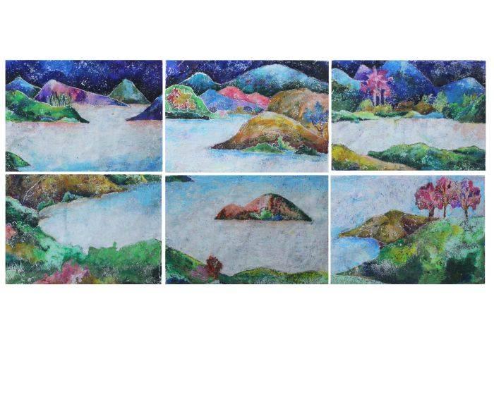 黃詩涵-穿梭在夢境與現實之間,黃詩涵,石膏版畫,23x33cmx6件,2015