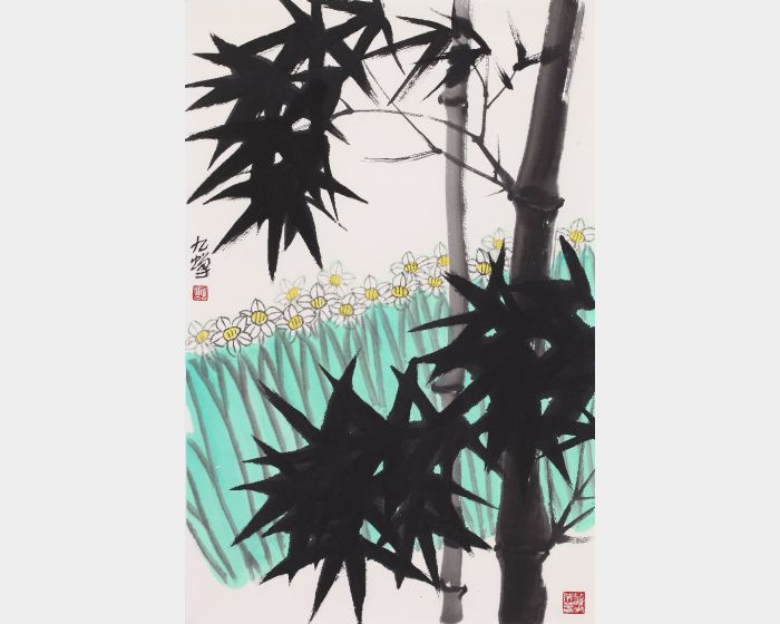胡九蟬-水仙凌雲圖