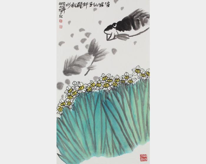 胡九蟬-伴龍戲水圖