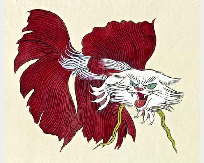 石黑 亞矢子-闘猫魚 朱(斗貓魚 朱紅vermillion fighting cat fish)