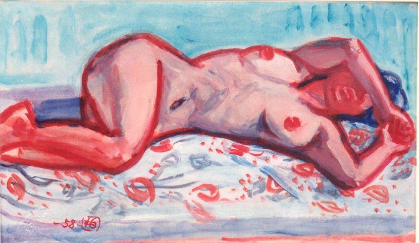 郭柏川-斜躺的裸女