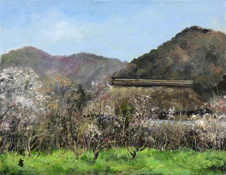 向井潤吉-山谷的杏花 - 於北信濃森 -