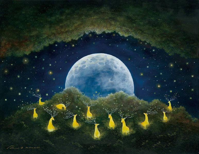 海至,《在充滿光鹿與靈魂的森林》。圖/國璽藝術。