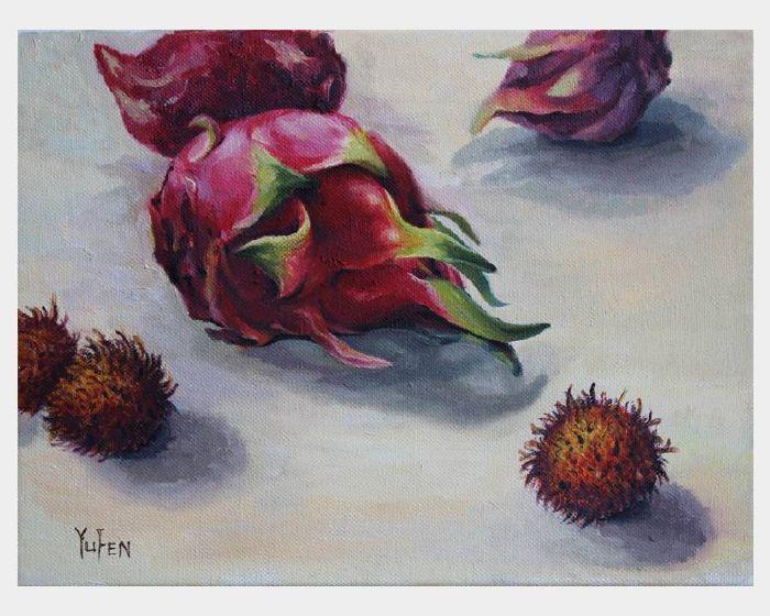 沈玉芬-紅龍果與紅毛丹 Dragon Fruit and Rambutan