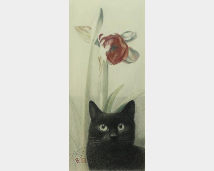 高橋行雄-孤挺花與黑貓