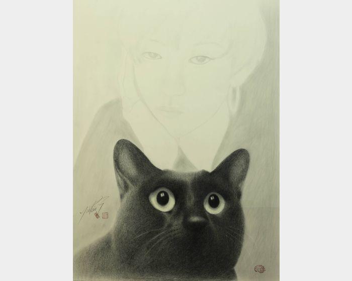 高橋行雄-小姐與黑貓 Mademoiselle and black cat