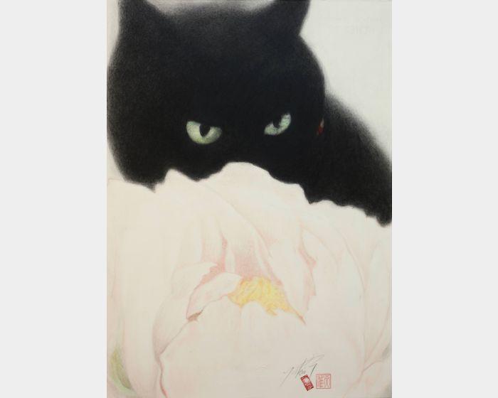 高橋行雄-芍藥與黑猫 Paeonia and black cat