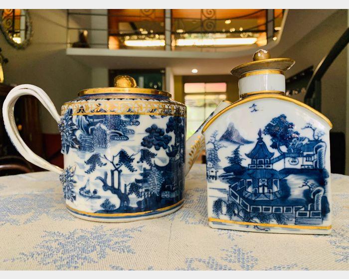 青花描金山水紋瓷壺茶罐組