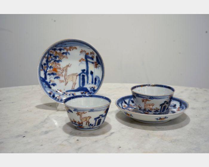 描金青花鹿紋瓷杯組