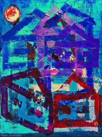 Erokhina Yulia-Cats with the moon on the roof of house
