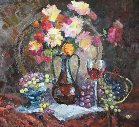 Pavel Veselkin-still-life with a glass of wine