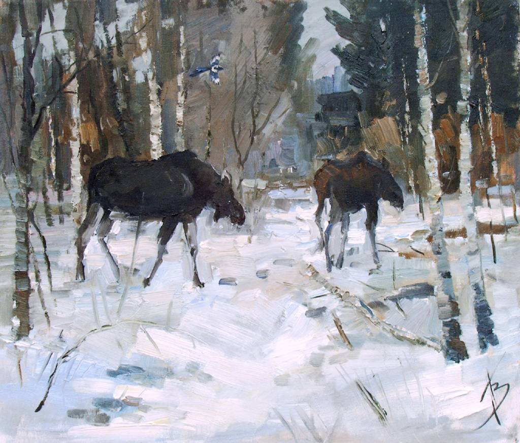 Pavel Veselkin - moose in the woods