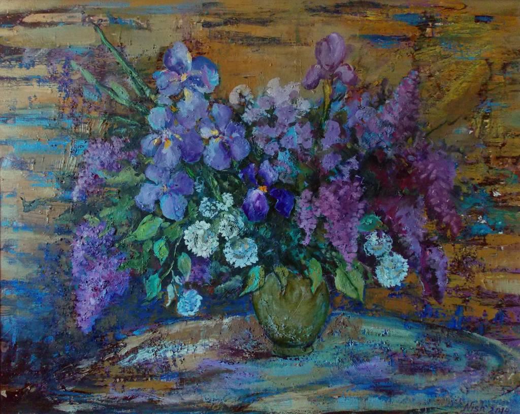 Natalia Nysh - Spring bouquet (seringes and irises)