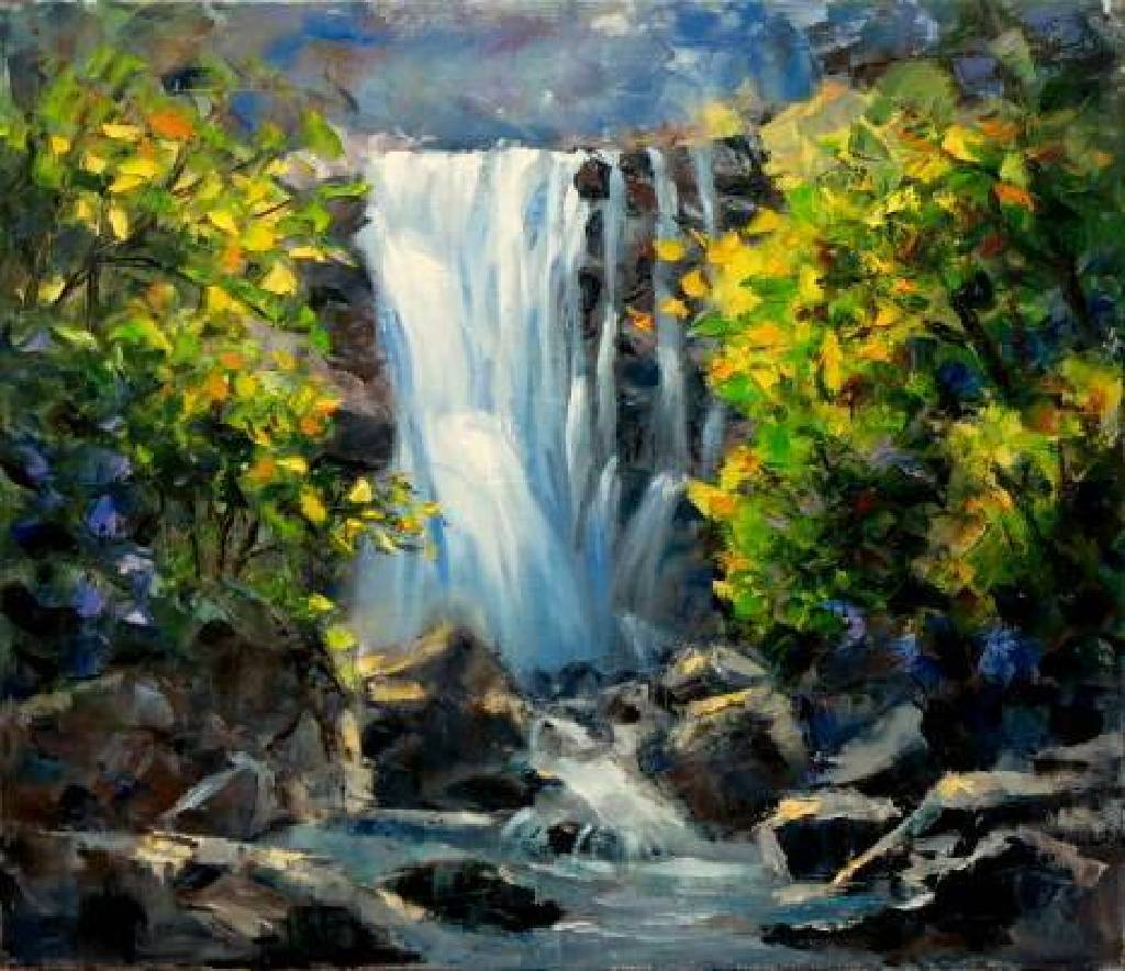 Vanessa -  Abstract waterfall oil painting # 13