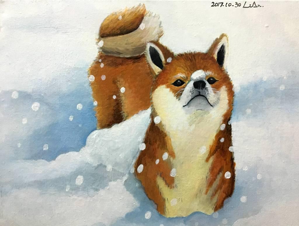 陳麗安 - 玩雪的柴犬