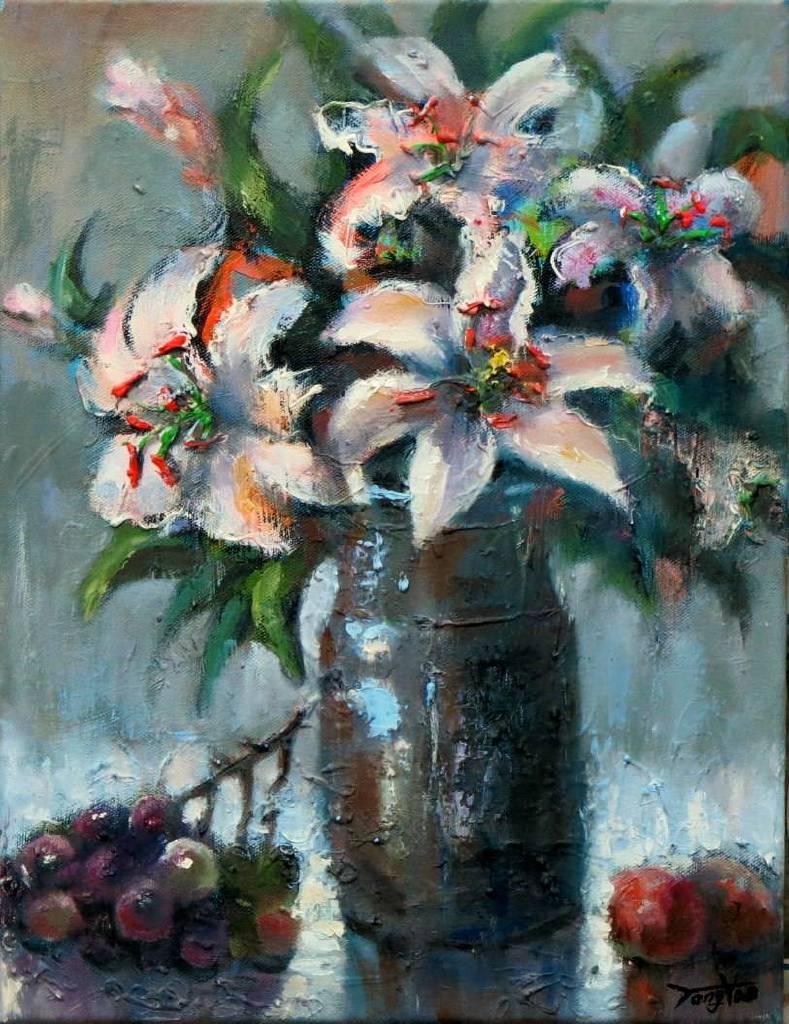 Vanessa - 百年好合 Flower  oil painting # 8