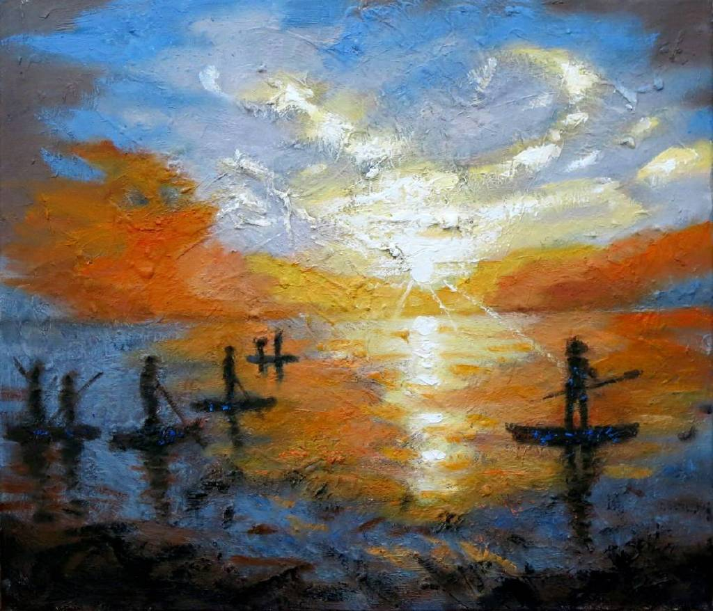 Vanessa - 旭日東昇 Abstract Seascape  sunrise  oil painting # 9