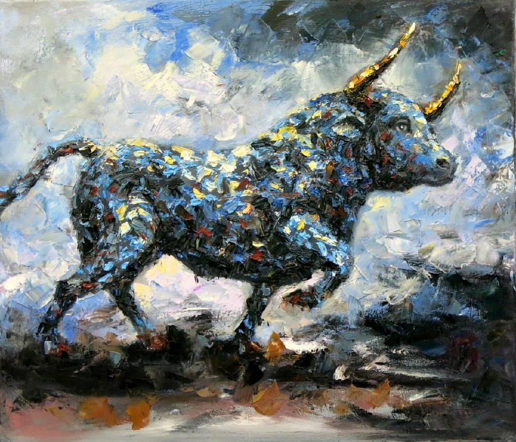 Vanessa -  Animal Bull oil painting # 10