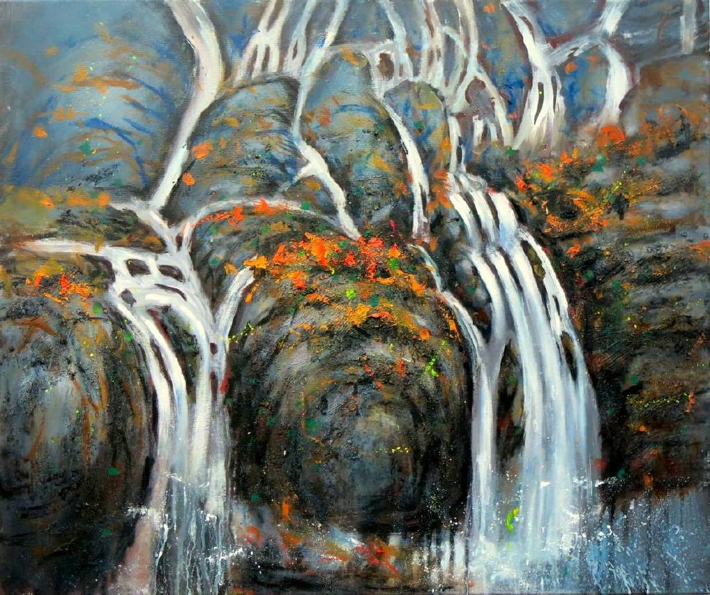 Vanessa - 瀑布流水 Abstract waterfall oil painting # 14