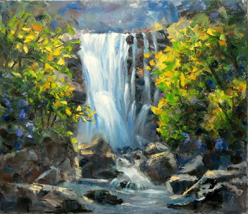 Vanessa - 山水瀑布  Abstract waterfall oil painting # 13