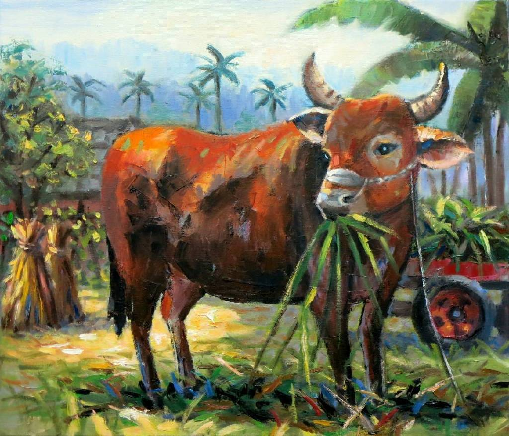 Vanessa - 台灣黃牛Taiwan  cattle   oil painting # 21