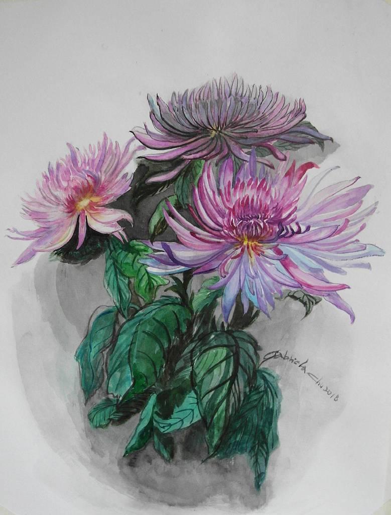 朱珮銀 - 粉紫菊花