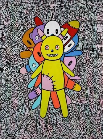 我心中的熊 I 130x97cm 2010 壓克力 墨水筆 施華洛世奇水晶 畫布