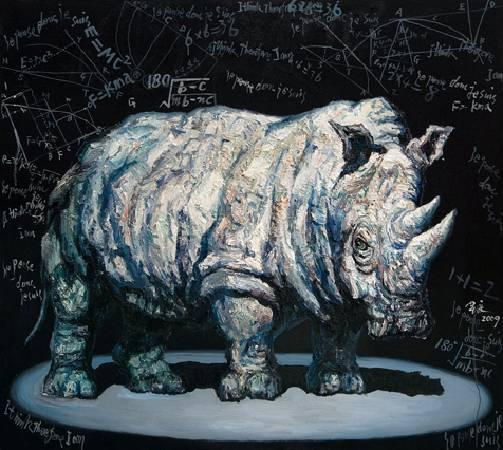沉思中的犀牛-油畫-162x145cm-2009