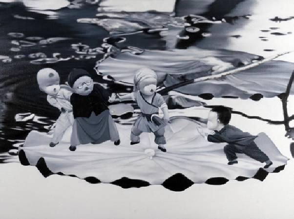 一二三四五,一起斗地主,160X120CM,布面油畫,2010