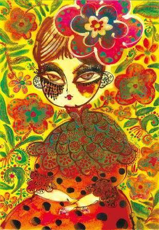 坐在黃色小花佈景中的小姐,39.3 x 27.2 cm,2008