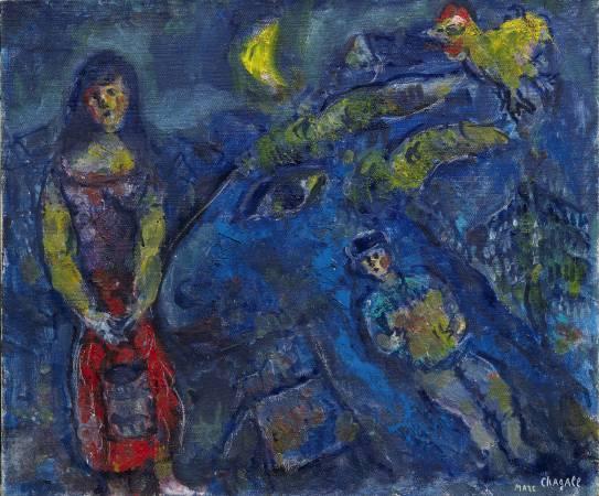 夏卡爾,《Scene de Village a L'Animal Bleu》圖/台北藝博會提供。
