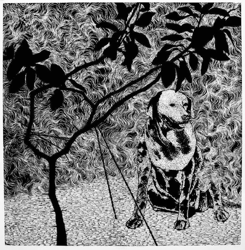 林羿束《樹的風景II》122.7×125cm 木刻版畫 油印手工棉紙 2012