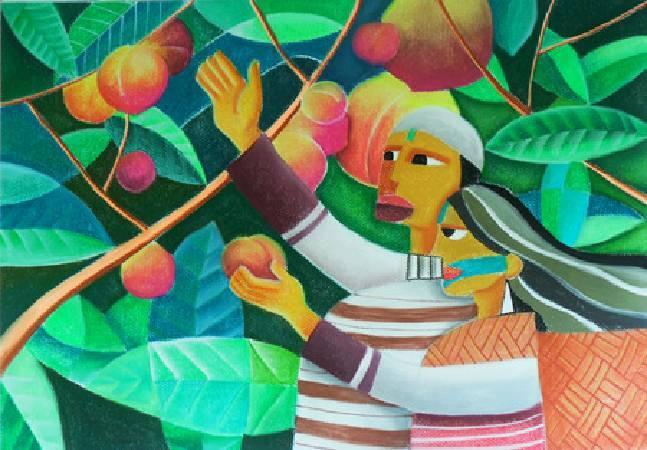 《水蜜桃之戀》,粉彩、畫紙 2011。