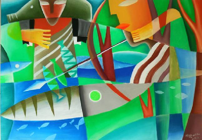《夏日獵曲之分享》,粉彩、畫紙 2011。