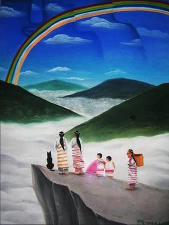 《彩虹故鄉》,粉彩、畫紙 2009。