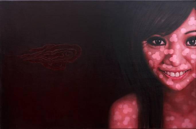 《丑旦與雷公系列-丑旦(七)》,油彩、畫布 2011。
