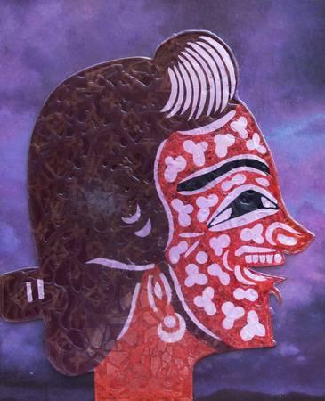 《丑旦與雷公系列-丑旦(六)》,油彩、環氧樹脂、畫布 2010。