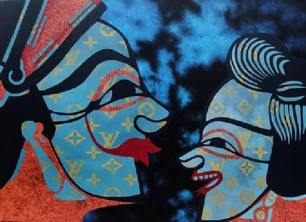 《丑旦與雷公系列-聊八卦》, 油彩、環氧樹脂、畫布 2010。