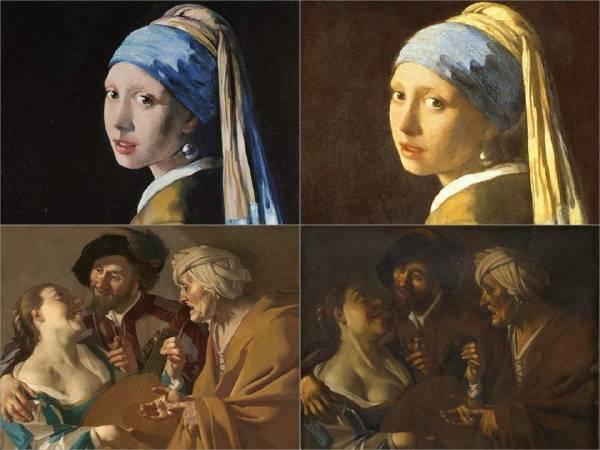 仿畫對照- 右上為維梅爾《Girl with a Pearl Earring》,左上為仿畫,畫家為John Myatt。左下為 Baburen《The Procuress》 右邊為Meegeren的仿畫。圖/擷取自Contemporary Art。