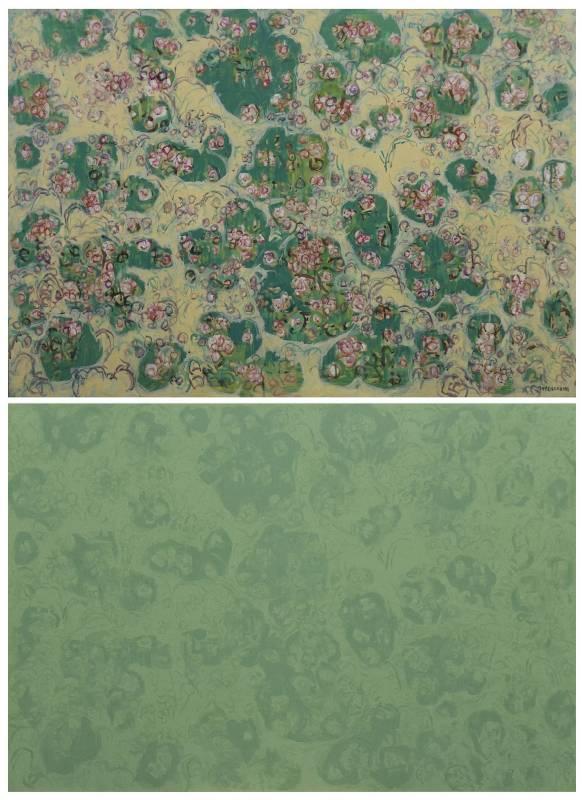 周育正,《周育正與他的老師顏貽成和他的繪畫》,2014 壓克力顏料畫布、聲音裝置 圖片版權為藝術家所有