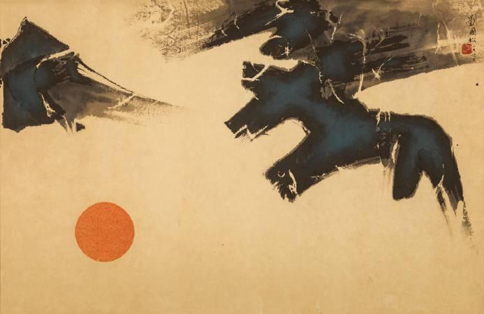 劉國松,《日落紅湖白(二)》。圖/尊彩藝術中心提供。