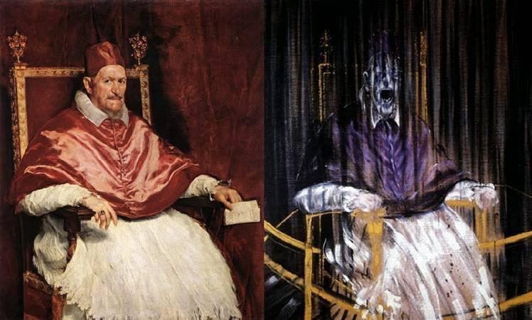左為西班牙畫家委拉士開茲的教皇肖像,右為《教皇英諾森十世肖像的習作》