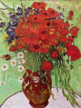梵谷《雛菊與罌粟花》。圖/取自wikiart。