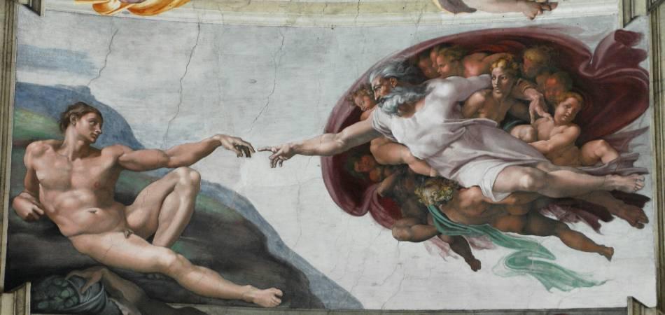 米開朗基羅,〈創造亞當〉。