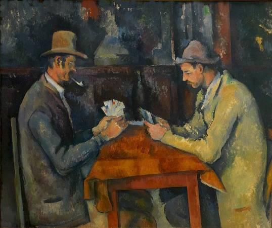 塞尚《玩紙牌的人》(The Card Players),1894-1895。圖/取自Wikipedia。