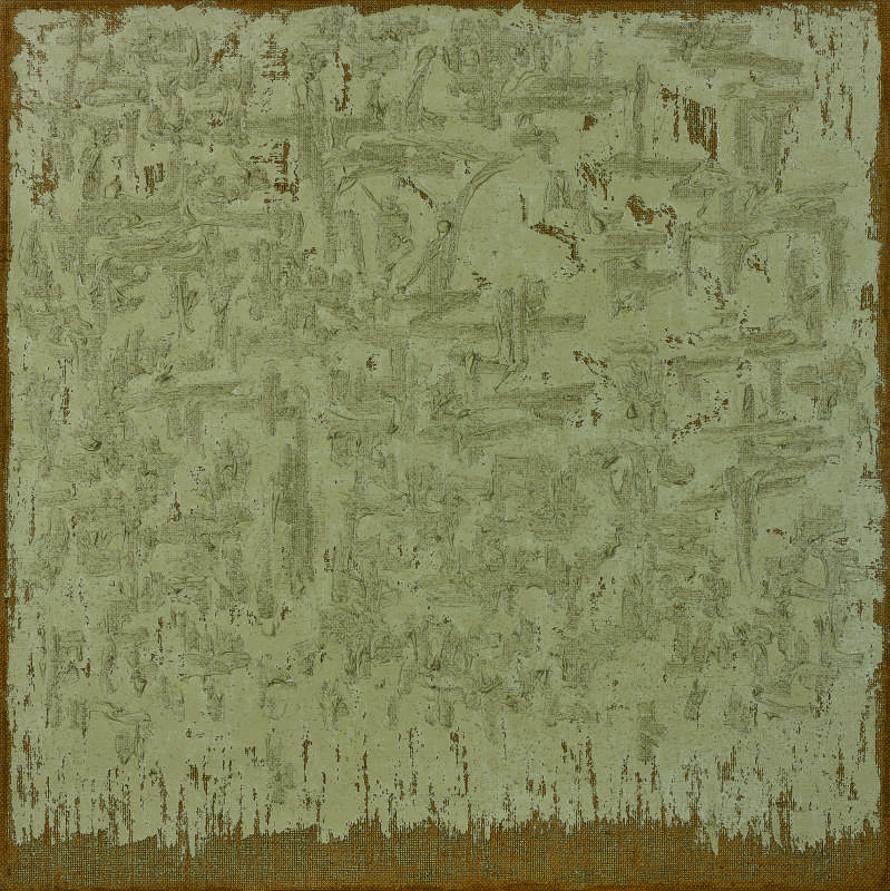 河鐘賢 Ha Chong-Hyun, 接合 Conjunction 92-81, 麻布面油畫 Oil on hemp cloth, 120x120cm, 1992 (1)