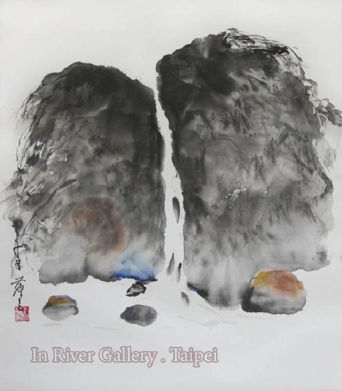 塵三-春流,水墨,63x63cm,2014